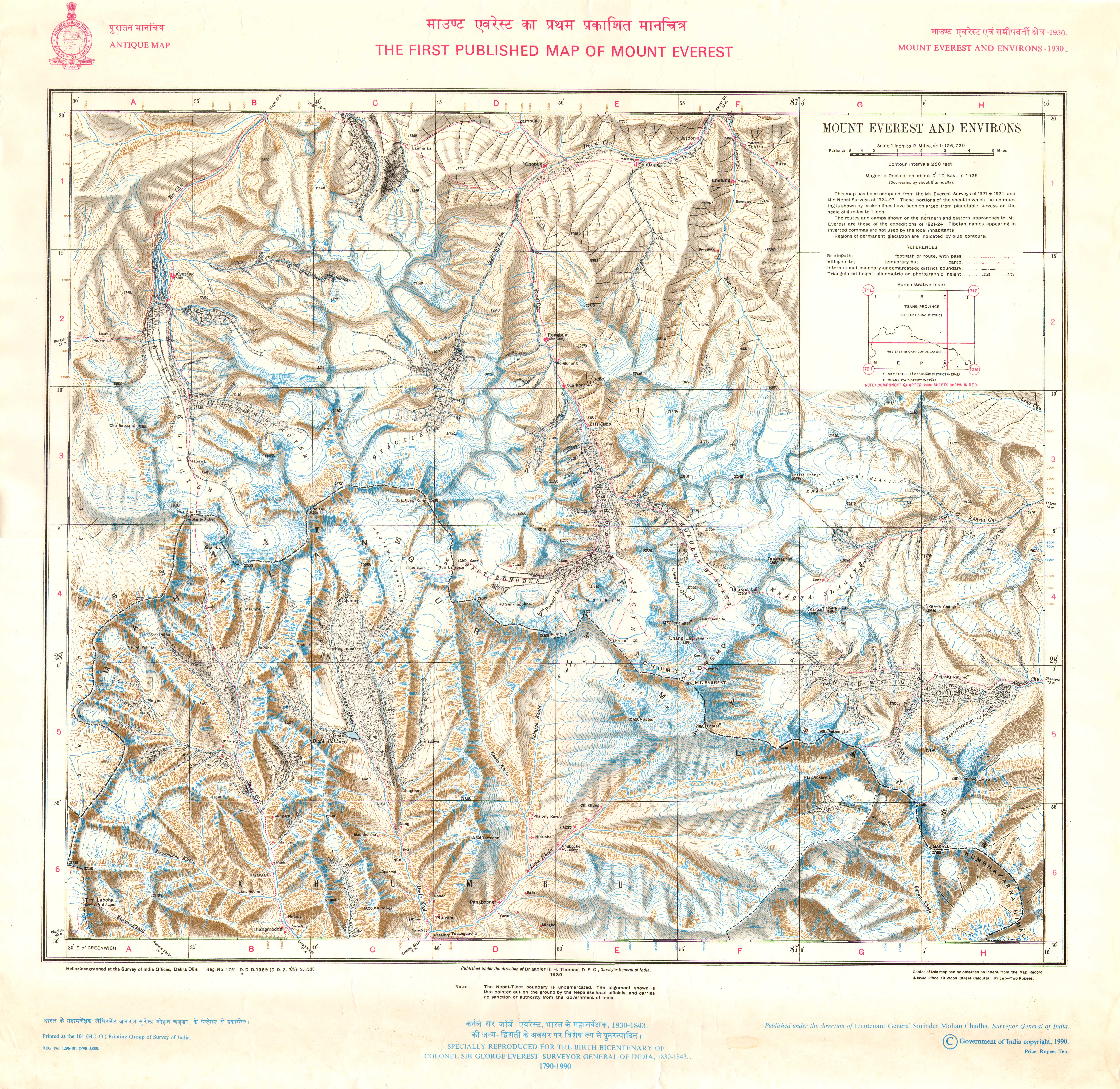 1930 Mount Everest and Environs by SoI