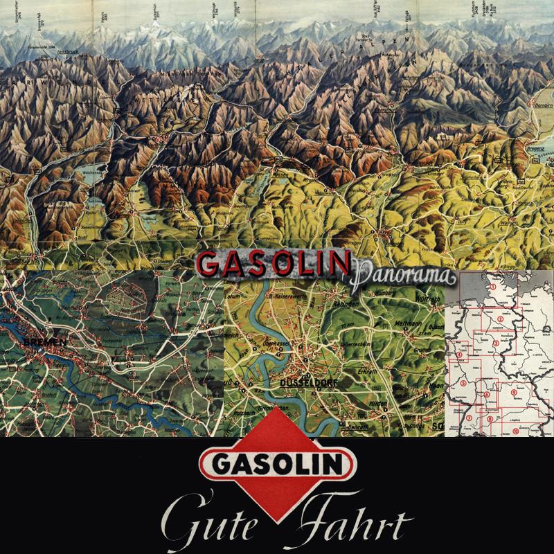Gasolin Panoramakarten 1954 Landkartenarchivde