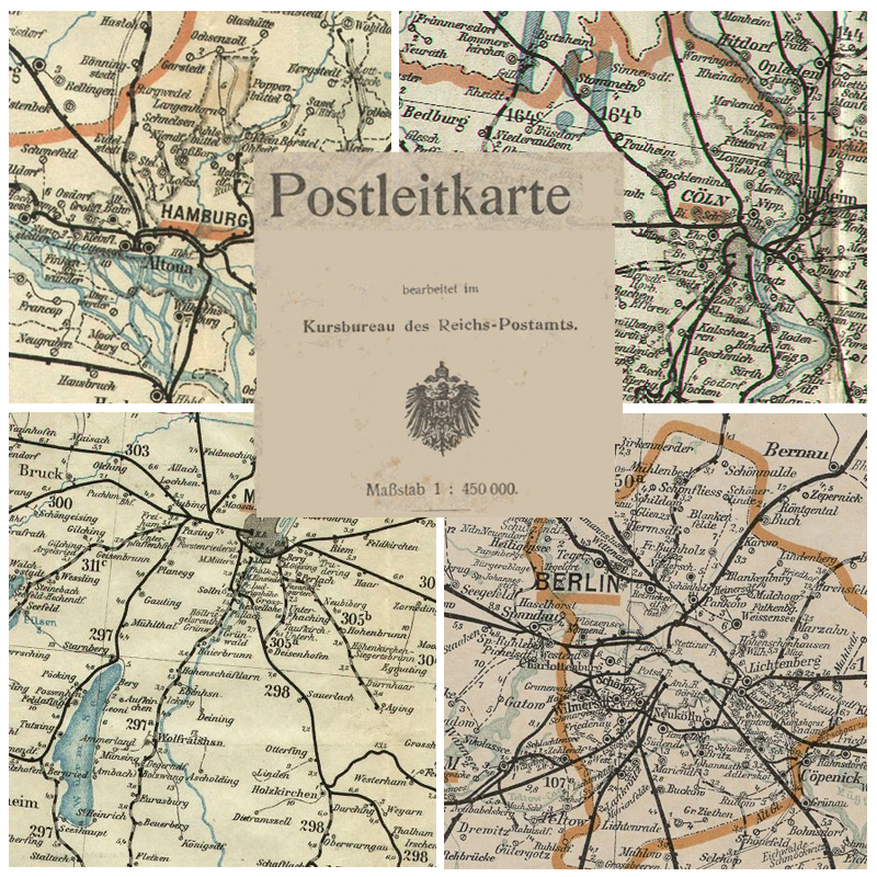 Postleitkarten Des Deutschen Reichs 1892 1925