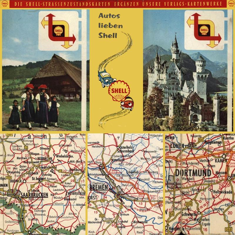 Shell Wegweiser Shell Strassenzustandskarten 1954 1964