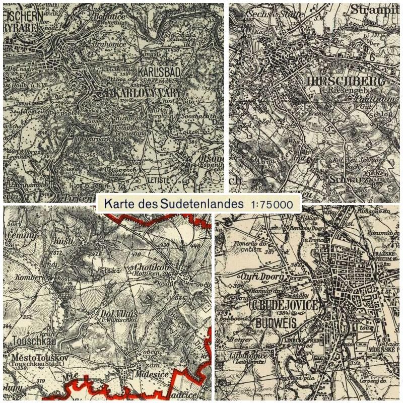 Deutsche Karte Vor Dem 1 Weltkrieg.Karte Des Sudetenlandes 1935 1940 Landkartenarchiv De