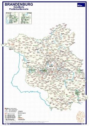 Postleitzahlenkarte Brandenburg mit Detailplänen [DIN-A3, dickes Papier, einmal gefaltet] - Alle Postleitzahlengebiete. Mit Detailkarten von Potsdam und Cottbus