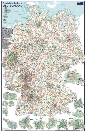 Postleitzahlenkarte Deutschland mit Detailplänen [70x100cm, dickes Papier, in Rolle ungefaltet] - Alle Ortschaften ab 5.000 Einwohner - Mit Detailkarten von den größten Städten in Deutschland