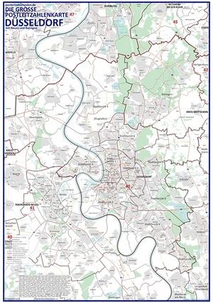 Postleitzahlenkarte Düsseldorf (NEU: 2016, 70x100cm, dickes Papier gerollt] - Mit allen Postleitzahlengebieten, Bezirken, Stadtteilen sowie Hauptverkehrsstraßen mit Straßennamen und Register am Kartenrand