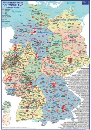 Postleitzahlenkarte Gebietsplaner Deutschland [70x100cm, dickes Papier, in Rolle ungefaltet] - Mit allen Postleitzonenregionen und Stadt- / Landkreise