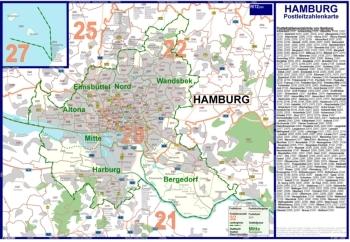 Postleitzahlenkarte Hamburg (70x100cm, dickes Papier gerollt] - Mit allen Postleitzahlengebieten, Bezirken und Stadtteilen sowie Register am Kartenrand