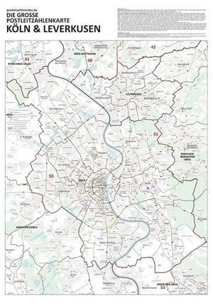 Postleitzahlenkarte Köln und Leverkusen (NEU: 2016, 70x100cm, dickes Papier gerollt] - Mit allen Postleitzahlengebieten, Bezirken, Stadtteilen sowie Hauptverkehrsstraßen mit Straßennamen und Register am Kartenrand