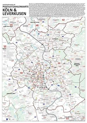 Postleitzahlenkarte Köln und Leverkusen [DIN-A3, dickes Papier, einmal gefaltet] - Mit allen Postleitzahlengebieten, Bezirken, Stadtteilen sowie Hauptverkehrsstraßen mit Straßennamen. Mit Register am Kartenrand