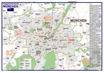 Postleitzahlenkarte München (70x100cm, dickes Papier gerollt] - Mit allen Postleitzahlengebieten, Bezirken und Stadtteilen sowie Register am Kartenrand