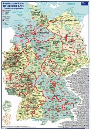 Postleitzahlenkarte Postleitzonengebiete Deutschland [Farbige Bundesländer. 70x100cm, dickes Papier, in Rolle ungefaltet] - Mit allen Postleitzonenregionen und Stadt- / Landkreise