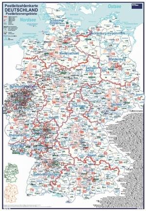 Postleitzahlenkarte Postleitzonengebiete Deutschland [Einfarbige Bundesländer. 70x100cm, dickes Papier, in Rolle ungefaltet] - Mit allen Postleitzonenregionen und Stadt- / Landkreise
