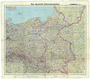 Das deutsche Interessengebiet - Reichsgau Danzig - Westpreußen, Provinz Ostpreußen, Reichsgau Wartheland, Generalgouvernement 1:800.000 (März 1940)