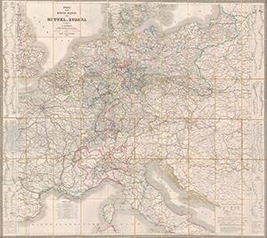 Post- und Reise-Karte von Mittel-Europa (1860)
