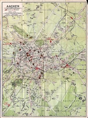 Historischer Stadtplan von Aachen (Februar 1927) 1:13.000