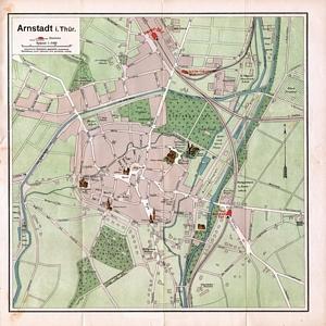 Historischer Stadtplan von Arnstadt (1910) 1:5.000