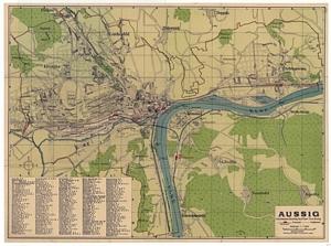 Historischer Stadtplan von Aussig 1:11.500 [Februar 1915]
