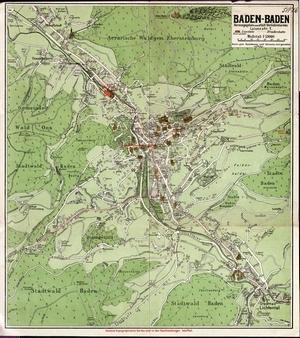 Historischer Stadtplan von Baden-Baden (1920) 1:13.000