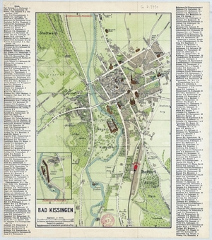 Historischer Stadtplan von Bad Kissingen (~ 1914) 1:6.700
