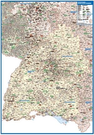 Postleitzahlenkarte Baden-Württemberg [NEU: 2017, 70x100cm, dickes Papier gerollt] - Mit allen Postleitzahlengebieten und selbstständigen Gemeinden - Farbig unterteilte Bundesländer