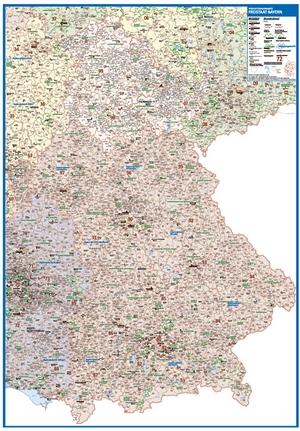 Postleitzahlenkarte Bayern [NEU: 2017, 100x140cm, dickes Papier gerollt] - Mit allen Postleitzahlengebieten und selbstständigen Gemeinden - Farbig unterteilte Bundesländer