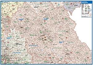 Postleitzahlenkarte Bayern - Nördlicher Teil [NEU: 2017, 70x100cm, dickes Papier gerollt] - Mit allen Postleitzahlengebieten und selbstständigen Gemeinden - Farbig unterteilte Bundesländer