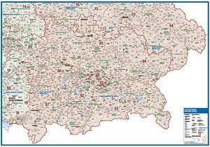 Postleitzahlenkarte Bayern - Südlicher Teil [NEU: 2017, 70x100cm, dickes Papier gerollt] - Mit allen Postleitzahlengebieten und selbstständigen Gemeinden - Farbig unterteilte Bundesländer