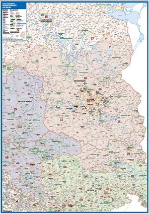 Postleitzahlenkarte Brandenburg [NEU: 2017, 70x100cm, dickes Papier gerollt] - Mit allen Postleitzahlengebieten und selbstständigen Gemeinden - Farbig unterteilte Bundesländer