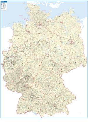 Postleitzahlenkarte Deutschland [NEU: 2017, 118,5x175cm, dickes Papier gerollt] - Mit allen Postleitzahlengebieten und selbstständigen Gemeinden - Einfarbig beige Bundesländerflächen