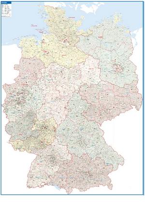 Postleitzahlenkarte Deutschland [NEU: 2017, 118,5x175cm, dickes Papier gerollt] - Mit allen Postleitzahlengebieten und selbstständigen Gemeinden - Farbig unterteilte Bundesländer