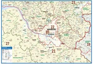 Postleitzahlenkarte Großraum Hamburg [NEU: 2017, 70x100cm, dickes Papier gerollt] - Mit allen Postleitzahlengebieten und selbstständigen Gemeinden - Farbig unterteilte Bundesländer