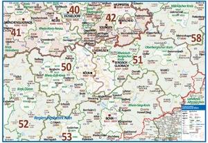 Postleitzahlenkarte Großraum Köln [NEU: 2017, 100x140cm, dickes Papier gerollt] - Mit allen Postleitzahlengebieten und selbstständigen Gemeinden - Farbig unterteilte Bundesländer
