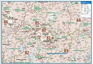 Postleitzahlenkarte Großraum München [NEU: 2017, 70x100cm, dickes Papier gerollt] - Mit allen Postleitzahlengebieten und selbstständigen Gemeinden - Farbig unterteilte Bundesländer