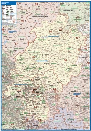 Postleitzahlenkarte Hessen [NEU: 2017, 100x140cm, dickes Papier gerollt] - Mit allen Postleitzahlengebieten und selbstständigen Gemeinden - Farbig unterteilte Bundesländer