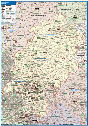 Postleitzahlenkarte Hessen [NEU: 2017, 70x100cm, dickes Papier gerollt] - Mit allen Postleitzahlengebieten und selbstständigen Gemeinden - Farbig unterteilte Bundesländer