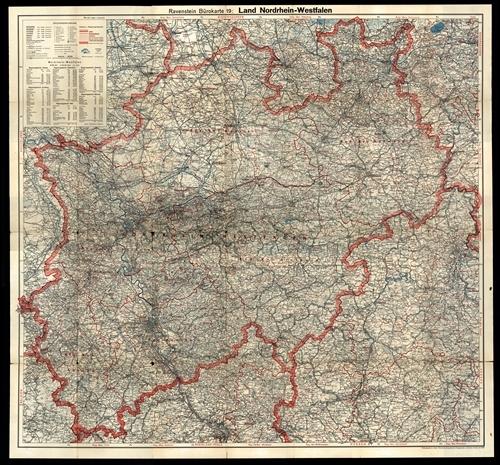 Ravensteins Bürokarte Nr. 19 - Land Nordrhein-Westfalen 1:300.000 (1959)