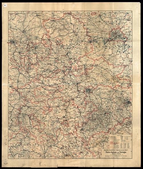 Ravensteins Deutsche Reise- und Organisationskarte Blatt 5 - Provinz Sachsen und Thüringen 1:500.000 (1933)