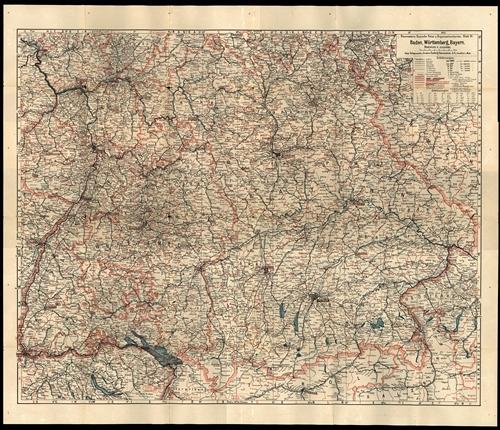 Ravensteins Deutsche Reise- und Organisationskarte Blatt 9 - Baden, Württemberg, Bayern 1:650.000 (1928)