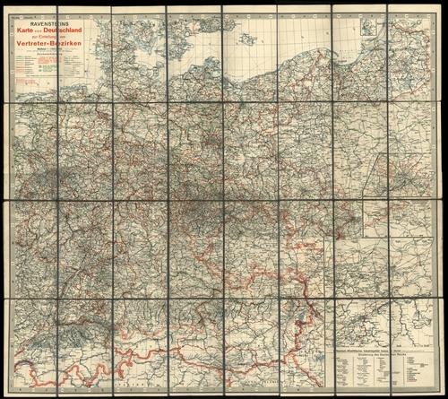 Ravensteins Karte von Deutschland zur Einteilung von Vertreter-Bezirken 1:1.250.000 (1938)