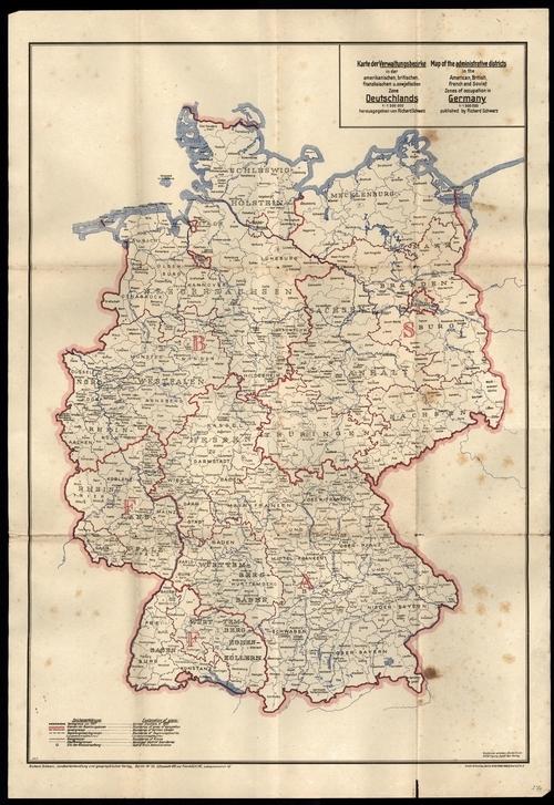 Karte der Verwaltungsbezirke in der amerikanischen, britischen, französischen und sowjetischen Zone Deutschlands 1:1.500.000 (Juni 1944)