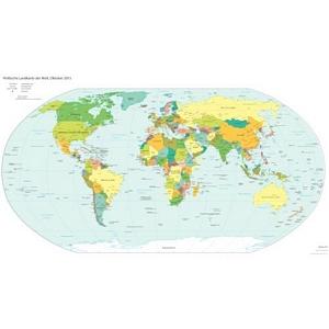 weltatlas-online.de - Politische Landkarte der Welt (Oktober 2013, Deutschsprachig, DIN-A3)