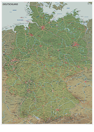 weltatlas-online.de - Die große Landkarte von Deutschland mit jeder Stadt ab 15.000 Einwohner (Physische Ausgabe, DIN-A1)